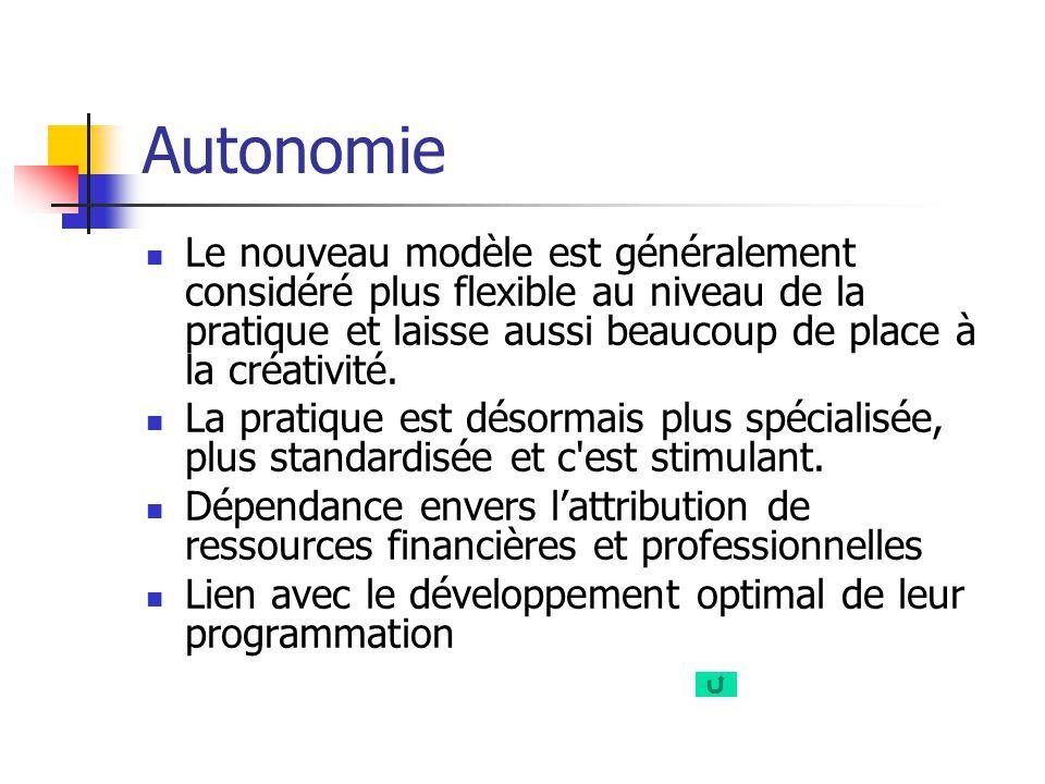 Autonomie Le nouveau modèle est généralement considéré plus flexible au niveau de la pratique et laisse aussi beaucoup de place à la créativité.