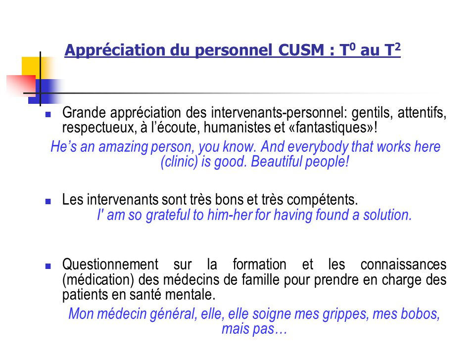 Appréciation du personnel CUSM : T0 au T2