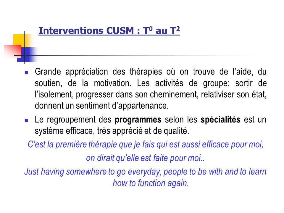 Interventions CUSM : T0 au T2