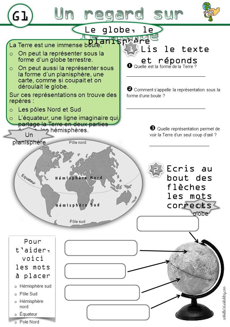 Un regard sur le monde G1 Le globe, le planisphère