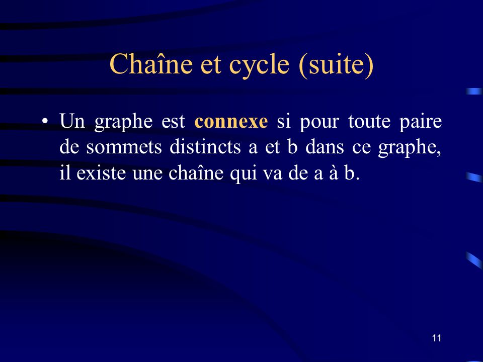 Chaîne et cycle (suite)