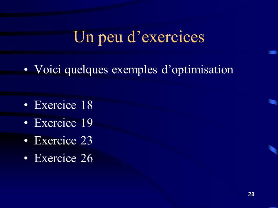 Un peu d'exercices Voici quelques exemples d'optimisation Exercice 18
