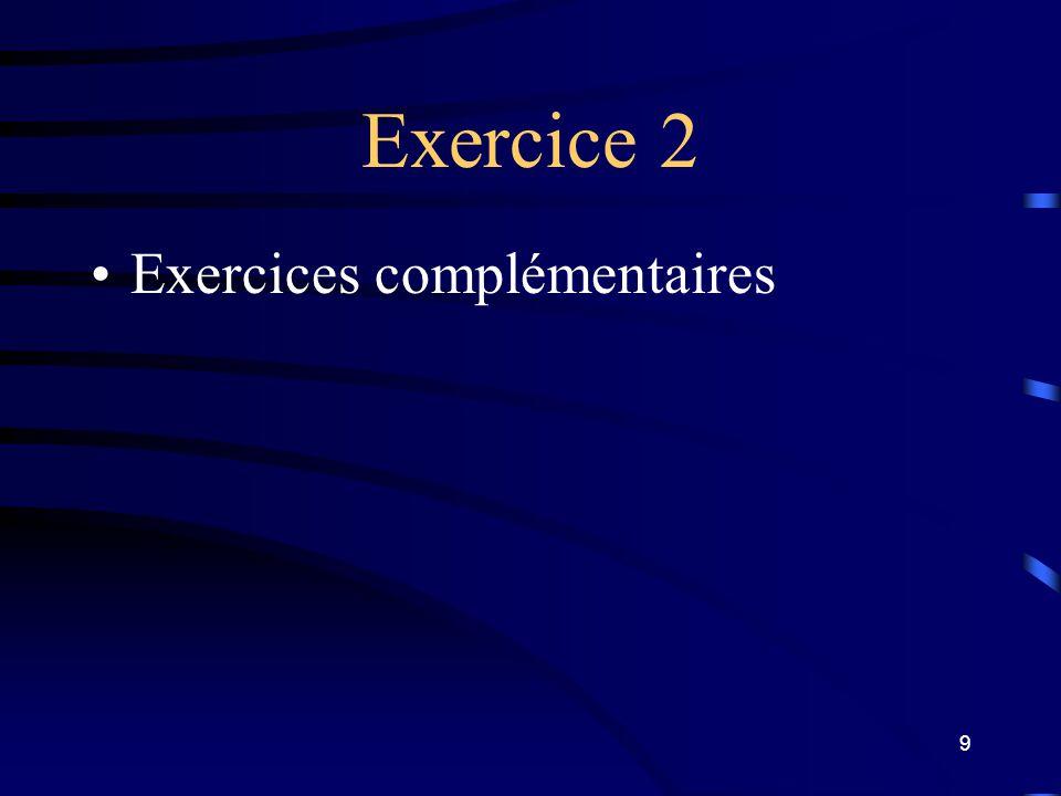 Exercice 2 Exercices complémentaires