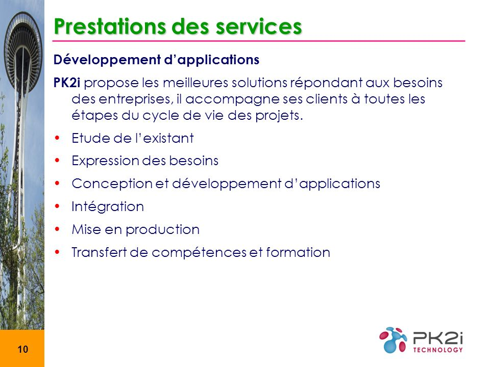 Prestations des services
