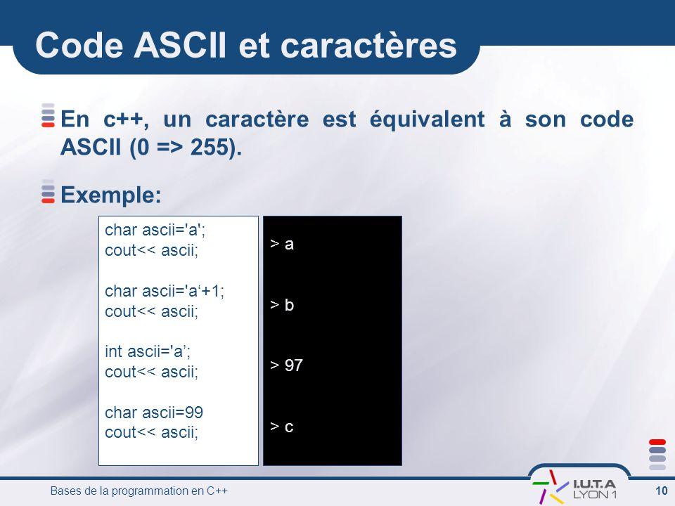 Code ASCII et caractères