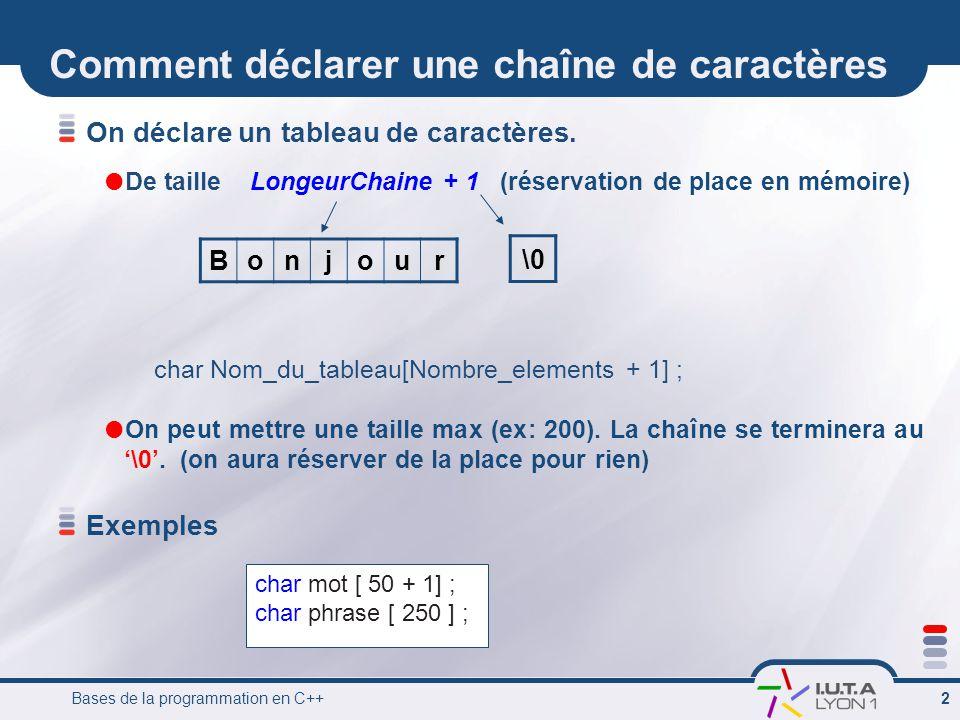 Comment déclarer une chaîne de caractères