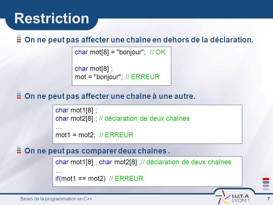 Restriction On ne peut pas affecter une chaîne en dehors de la déclaration. On ne peut pas affecter une chaîne à une autre.
