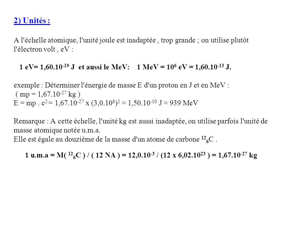 2) Unités : A l échelle atomique, l unité joule est inadaptée , trop grande ; on utilise plutôt. l électron volt , eV :