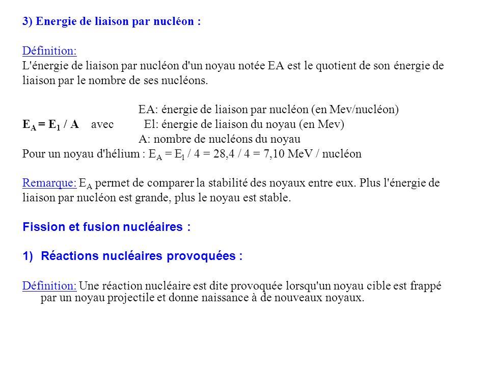 3) Energie de liaison par nucléon :