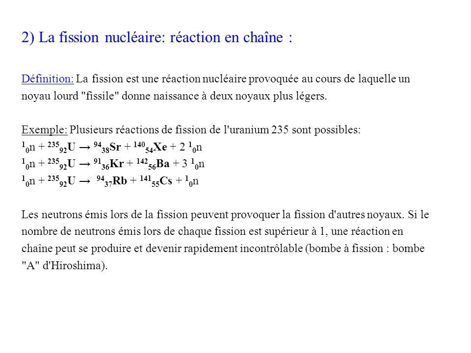 2) La fission nucléaire: réaction en chaîne :