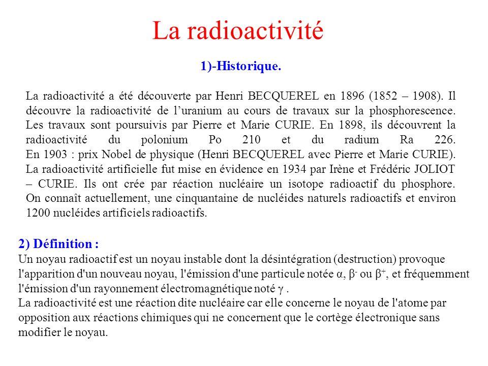 La radioactivité 2) Définition :