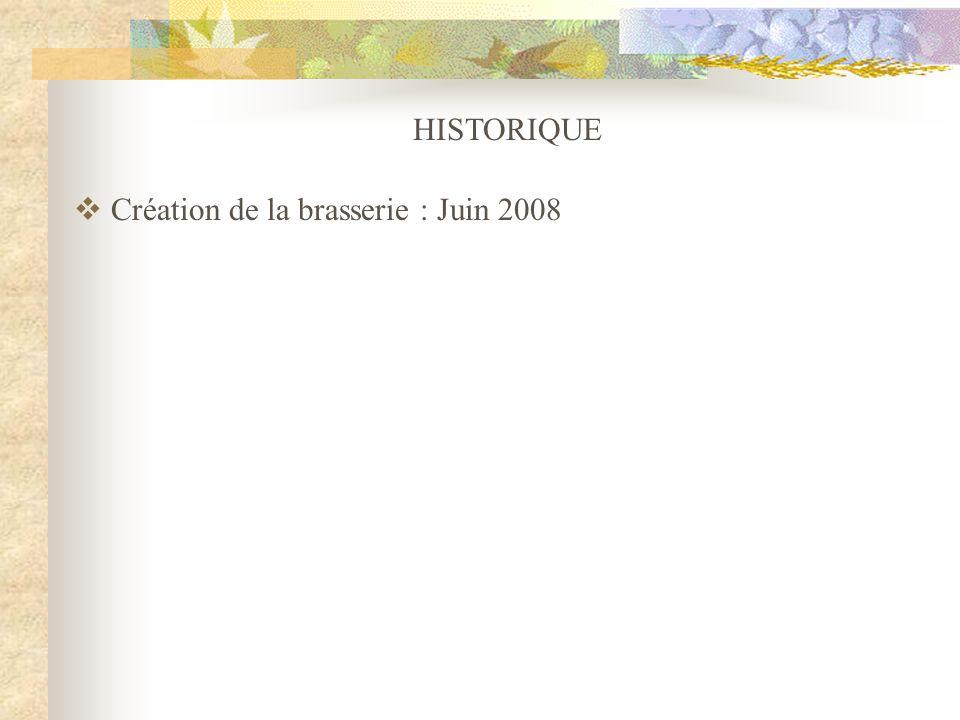 HISTORIQUE Création de la brasserie : Juin 2008