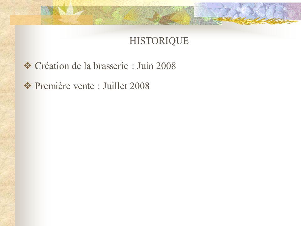 HISTORIQUE Création de la brasserie : Juin 2008 Première vente : Juillet 2008