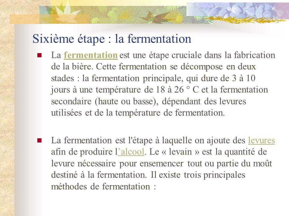 Sixième étape : la fermentation