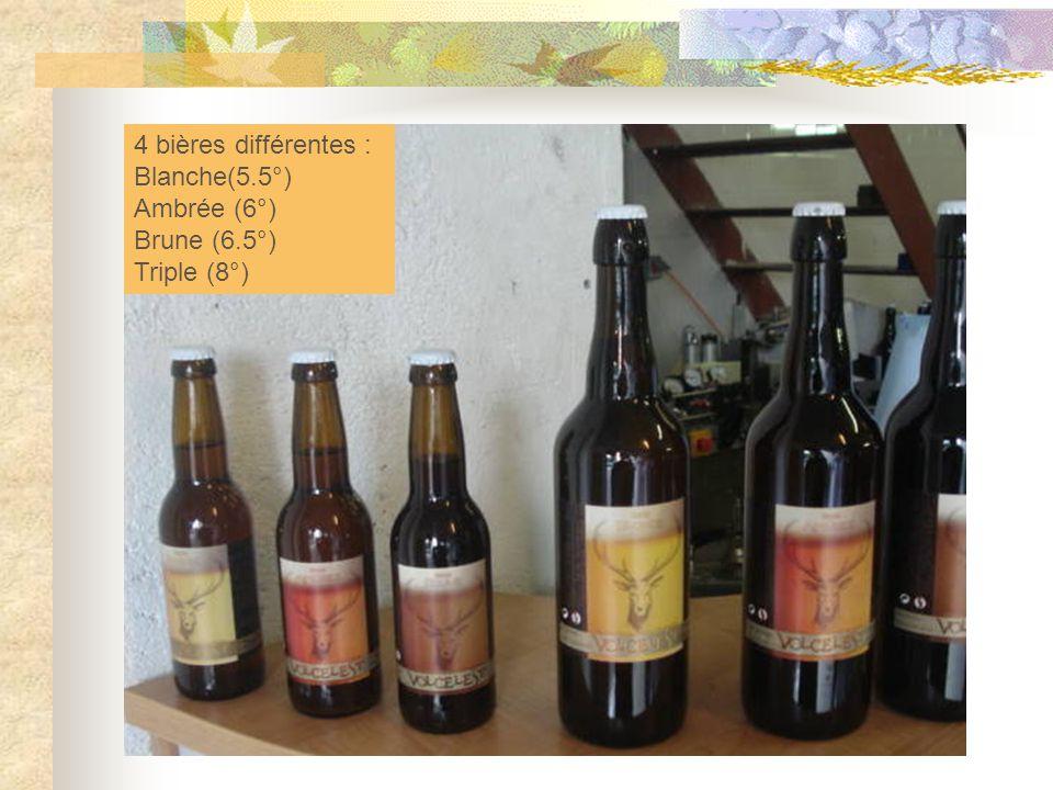 4 bières différentes : Blanche(5.5°) Ambrée (6°) Brune (6.5°) Triple (8°)