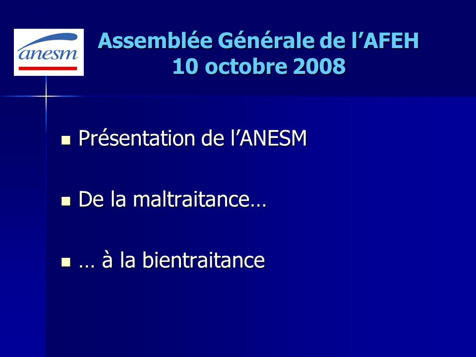 Assemblée Générale de l'AFEH 10 octobre 2008