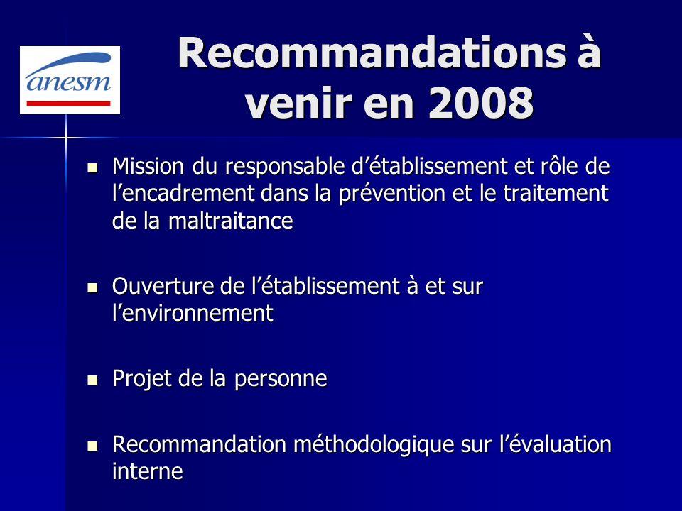 Recommandations à venir en 2008