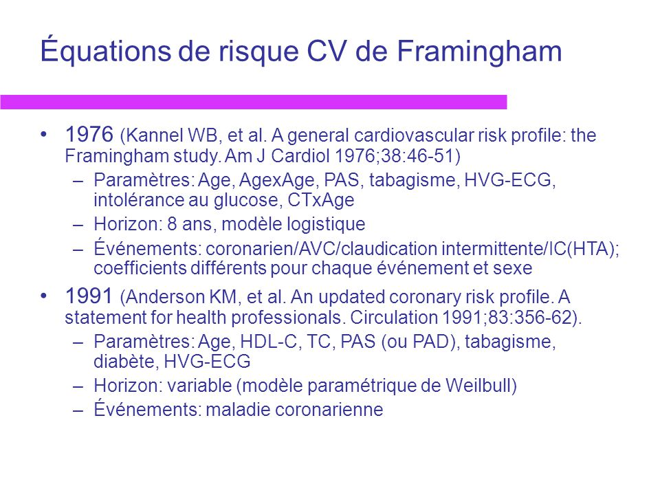 Équations de risque CV de Framingham