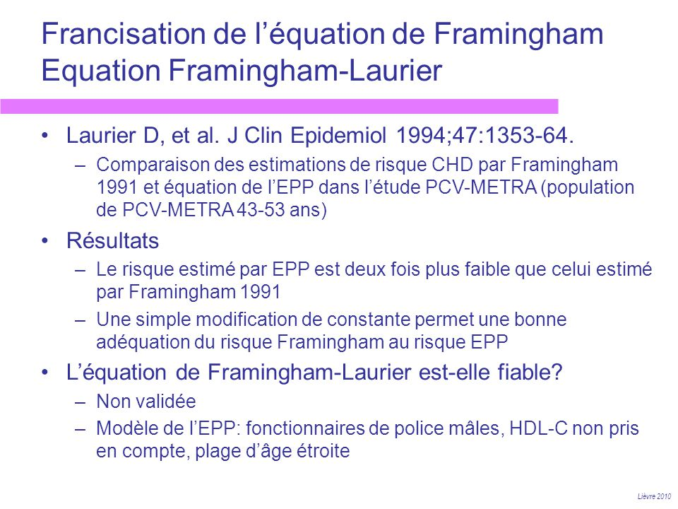 Francisation de l'équation de Framingham Equation Framingham-Laurier
