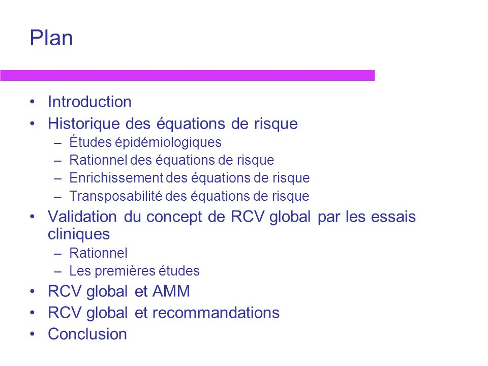 Plan Introduction Historique des équations de risque