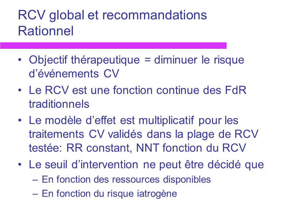 RCV global et recommandations Rationnel