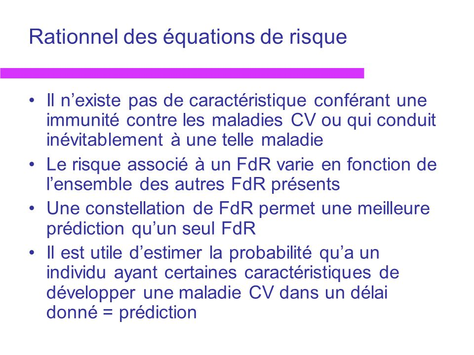 Rationnel des équations de risque