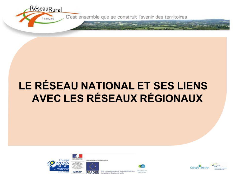 LE RÉSEAU NATIONAL ET SES LIENS AVEC LES RÉSEAUX RÉGIONAUX