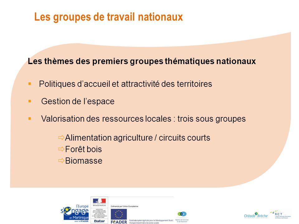 Les groupes de travail nationaux