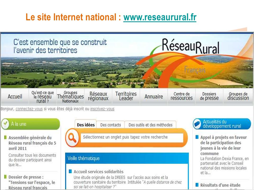 Le site Internet national : www.reseaurural.fr