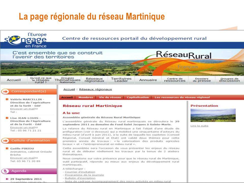 La page régionale du réseau Martinique