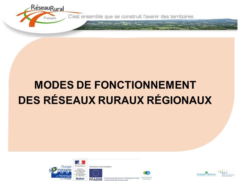 MODES DE FONCTIONNEMENT DES RÉSEAUX RURAUX RÉGIONAUX