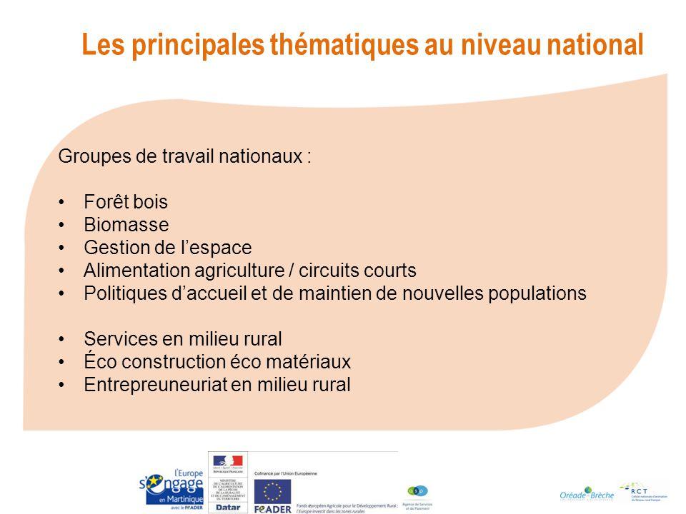 Les principales thématiques au niveau national
