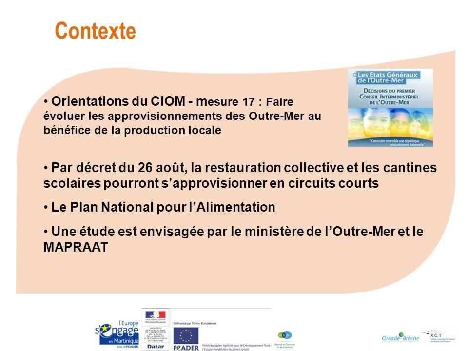 Contexte Orientations du CIOM - mesure 17 : Faire évoluer les approvisionnements des Outre-Mer au bénéfice de la production locale.
