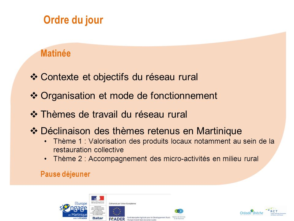 Ordre du jour Contexte et objectifs du réseau rural