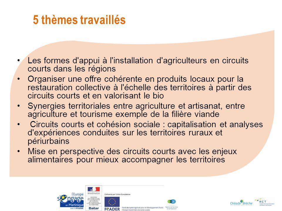 5 thèmes travaillés Les formes d appui à l installation d agriculteurs en circuits courts dans les régions.