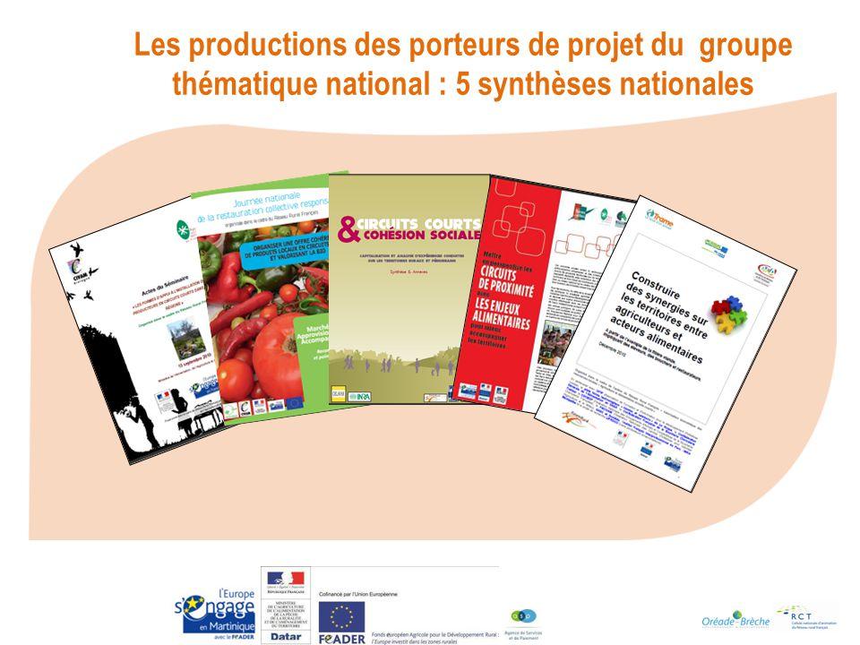 Les productions des porteurs de projet du groupe thématique national : 5 synthèses nationales