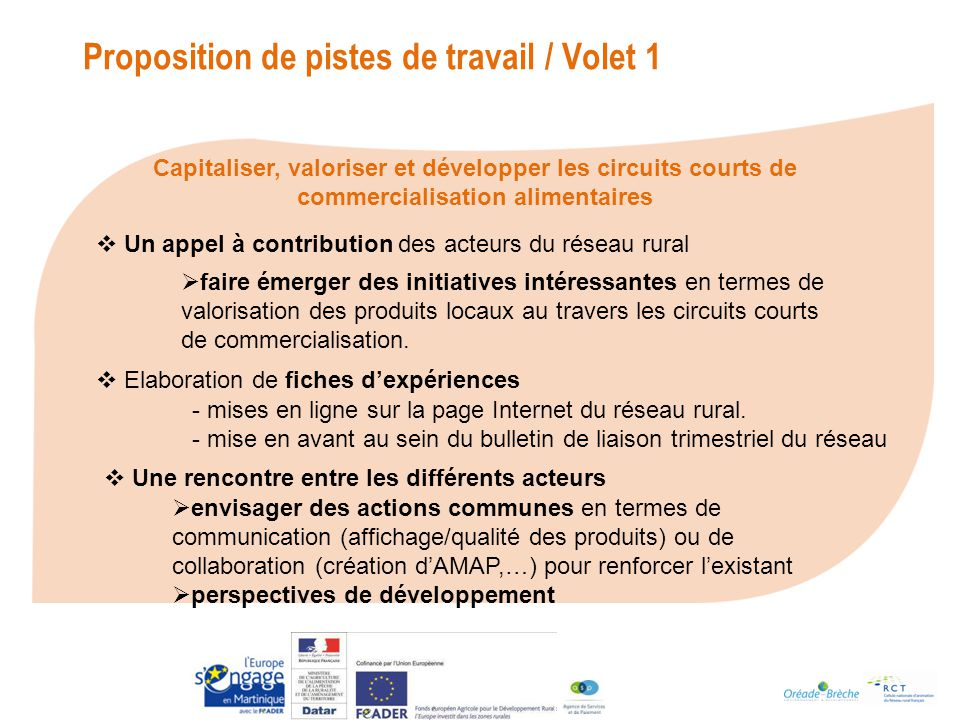 Proposition de pistes de travail / Volet 1