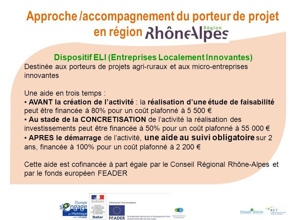 Approche /accompagnement du porteur de projet en région Rhone-Alpes