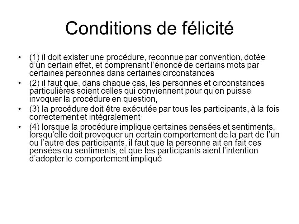 Conditions de félicité