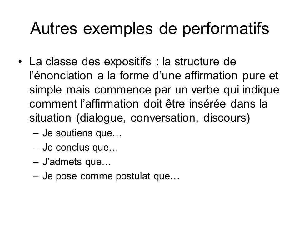 Autres exemples de performatifs