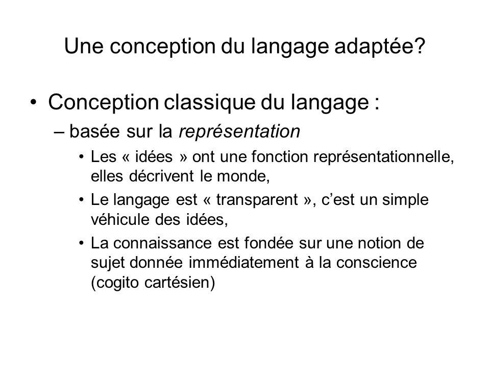 Une conception du langage adaptée