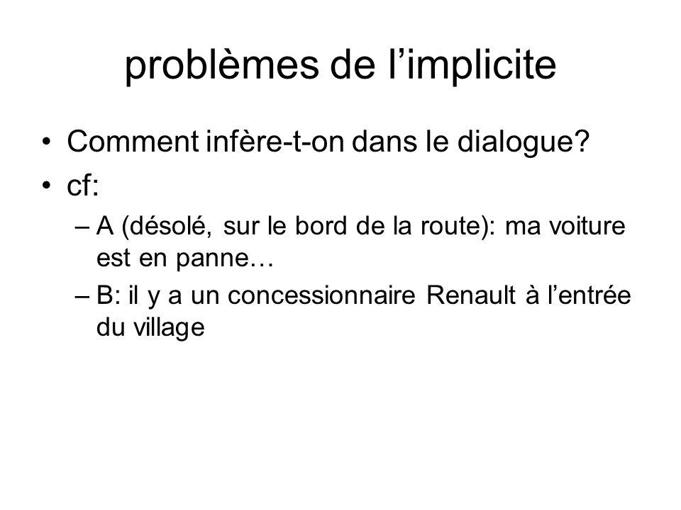 problèmes de l'implicite