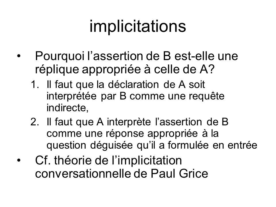 implicitations Pourquoi l'assertion de B est-elle une réplique appropriée à celle de A