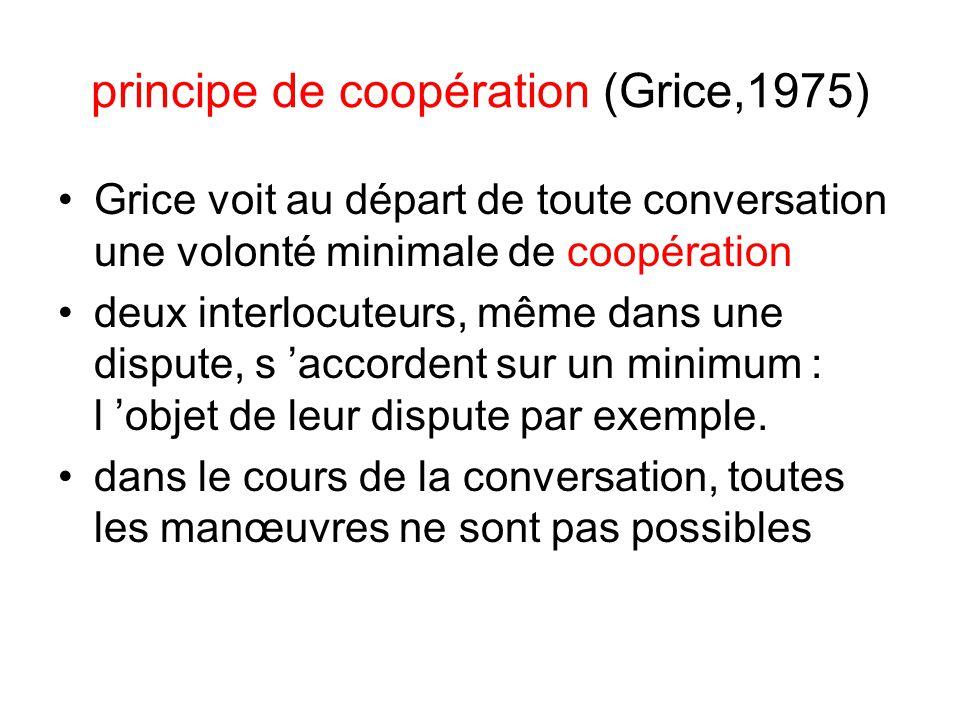 principe de coopération (Grice,1975)