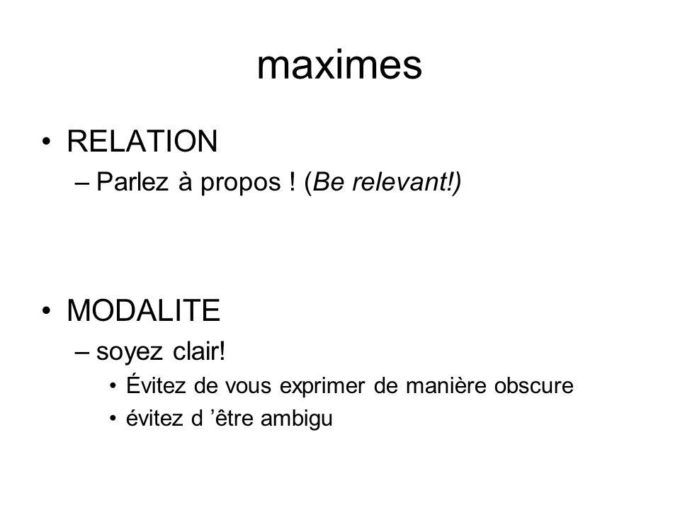 maximes RELATION MODALITE Parlez à propos ! (Be relevant!)