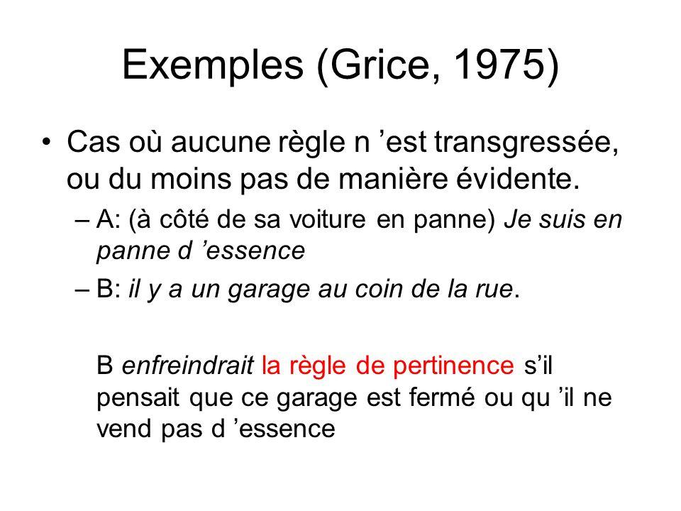 Exemples (Grice, 1975) Cas où aucune règle n 'est transgressée, ou du moins pas de manière évidente.