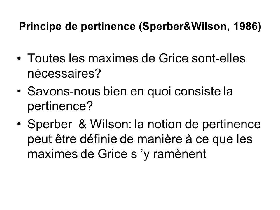 Principe de pertinence (Sperber&Wilson, 1986)
