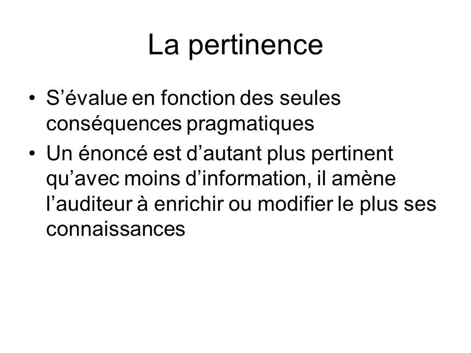 La pertinence S'évalue en fonction des seules conséquences pragmatiques.