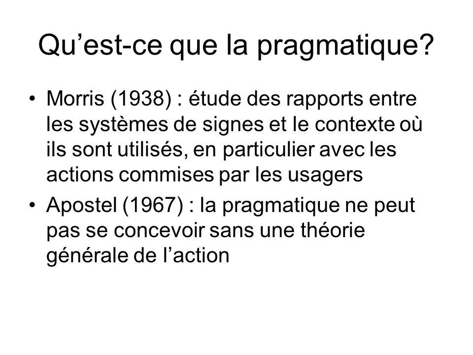 Qu'est-ce que la pragmatique
