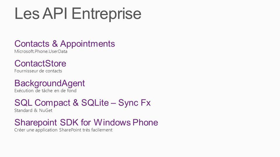 Les API Entreprise Contacts & Appointments ContactStore